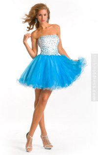 Blue Ball Gown Knee-length Strapless Dress, Cheap Party ...