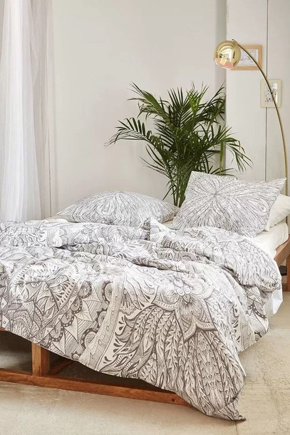Housse De Couette Rose Pale Et Gris Home Accessory, Bedding, Bedding, Hipster, Mandala, Dorm