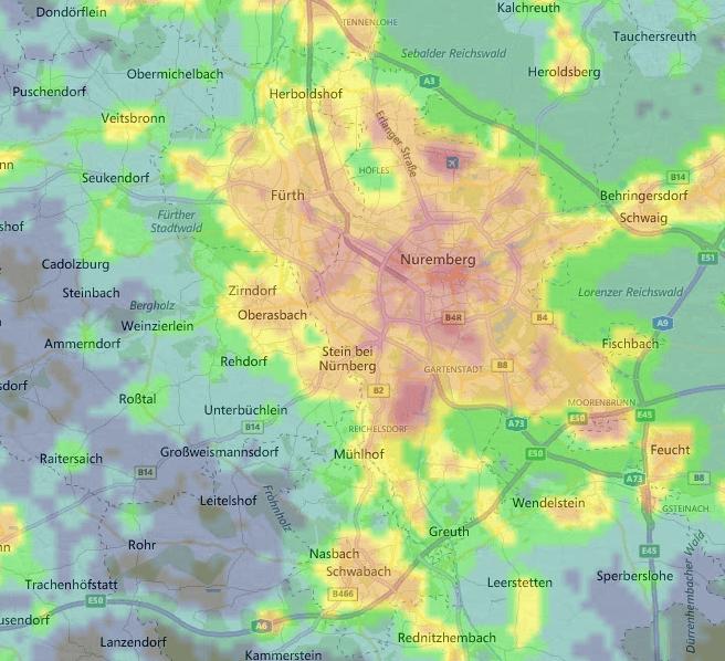 Light pollution map von Nürnberg und Umgebung