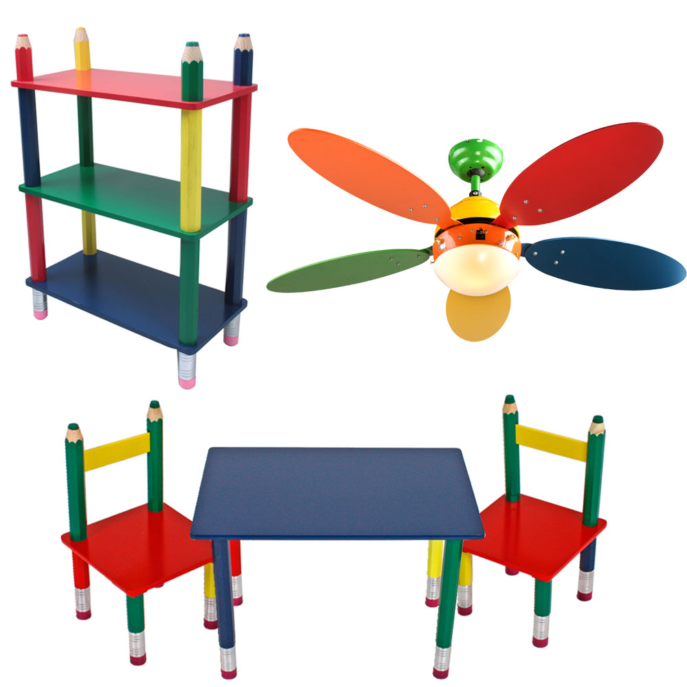 Regal Bunt Kinder Möbel Set Decken Ventilator Einstellbar Tisch Gruppe Massiv Holz Steh Regal Bunt Stift Optik Bleistift Kindermöbel
