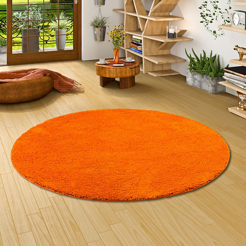 Hochflor Shaggy Teppich Palace Creme Hochflor Shaggy Teppich Palace Orange Rund