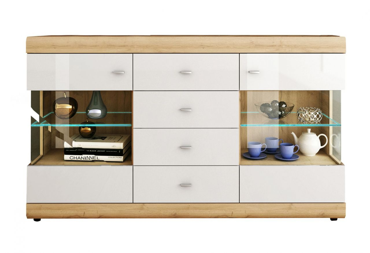 sideboard 2 farben hochglanz weiss grandson oak eiche hell glasausschnitt led beleuchtung f like s
