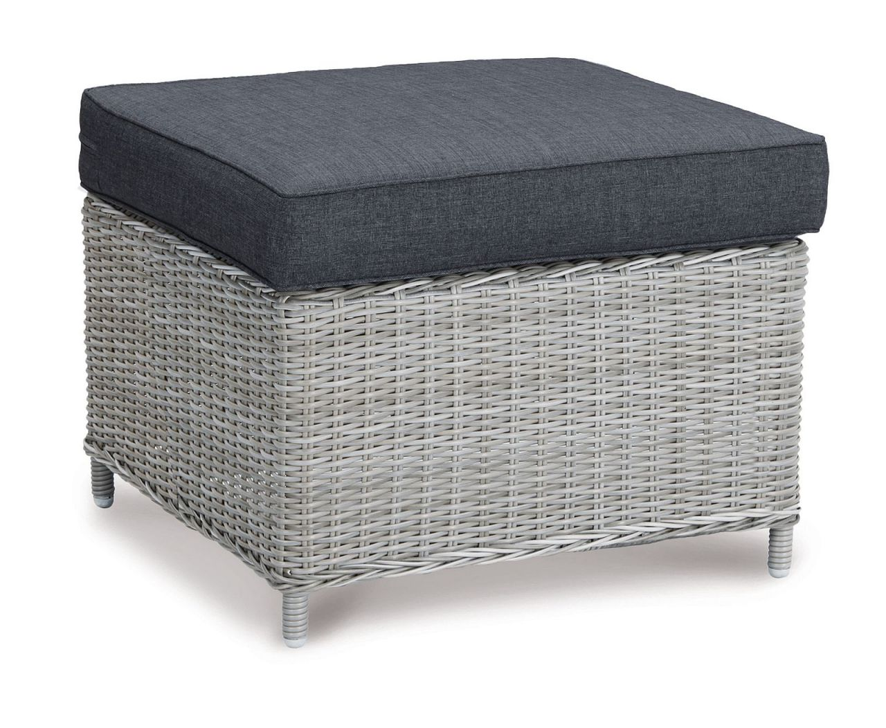 Hocker Outdoor Hocker Outdoor Fußhocker Inkl Polster Rattan Grau Meliert