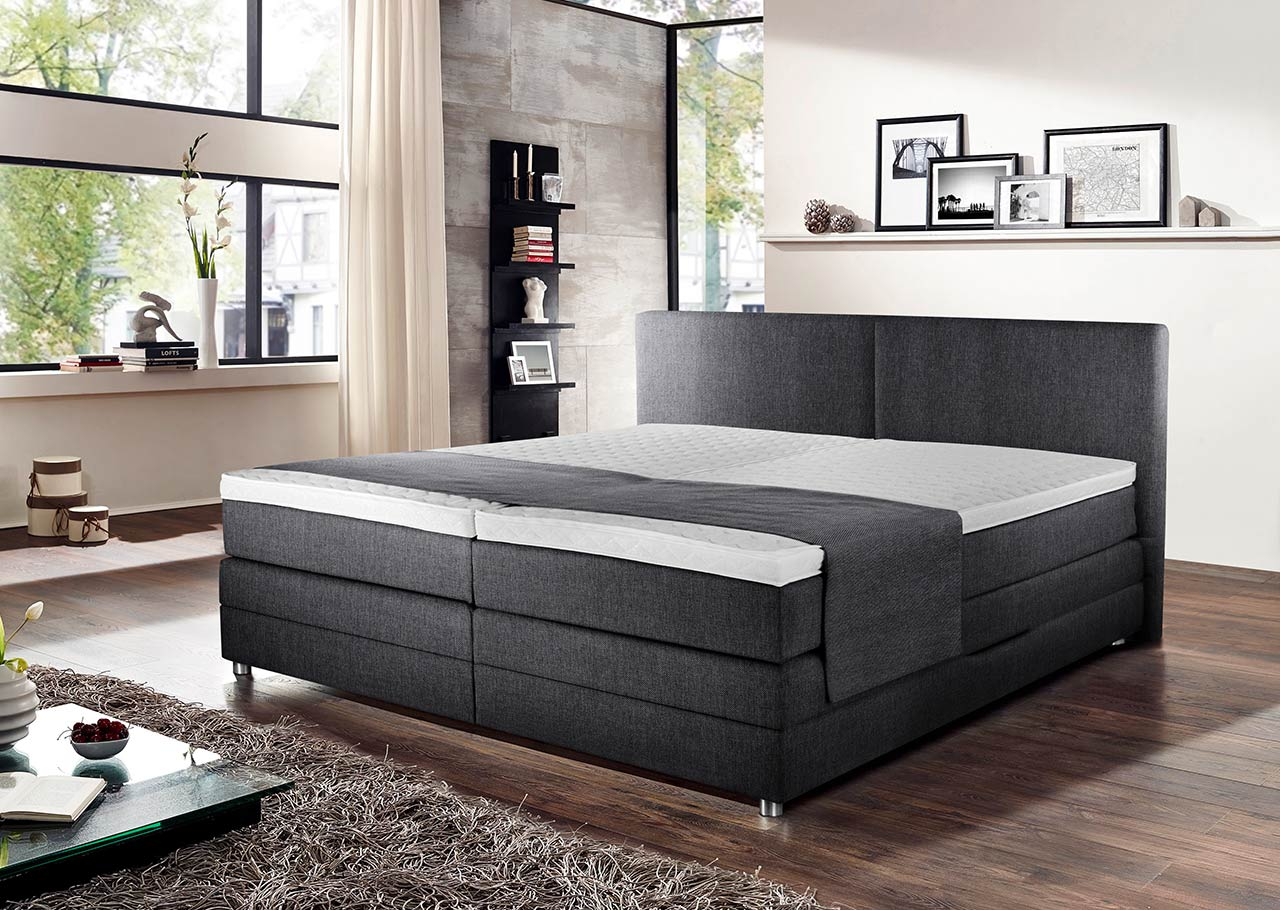 Boxspringbett 180x200 Bettkasten Boxspringbett In Grau Mit Bettkasten