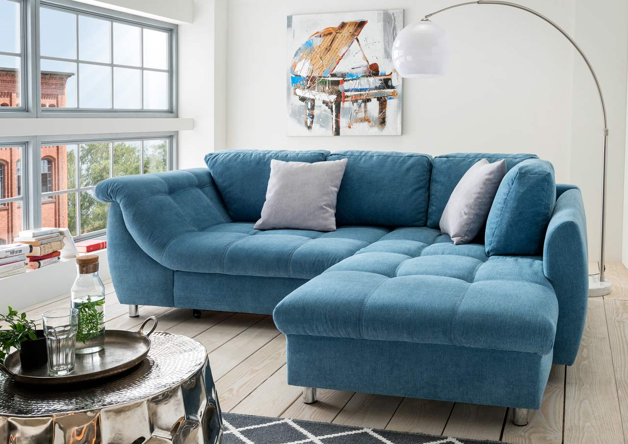 Microfaser Couch Ecksofa In Blauem Microfaser Sofa