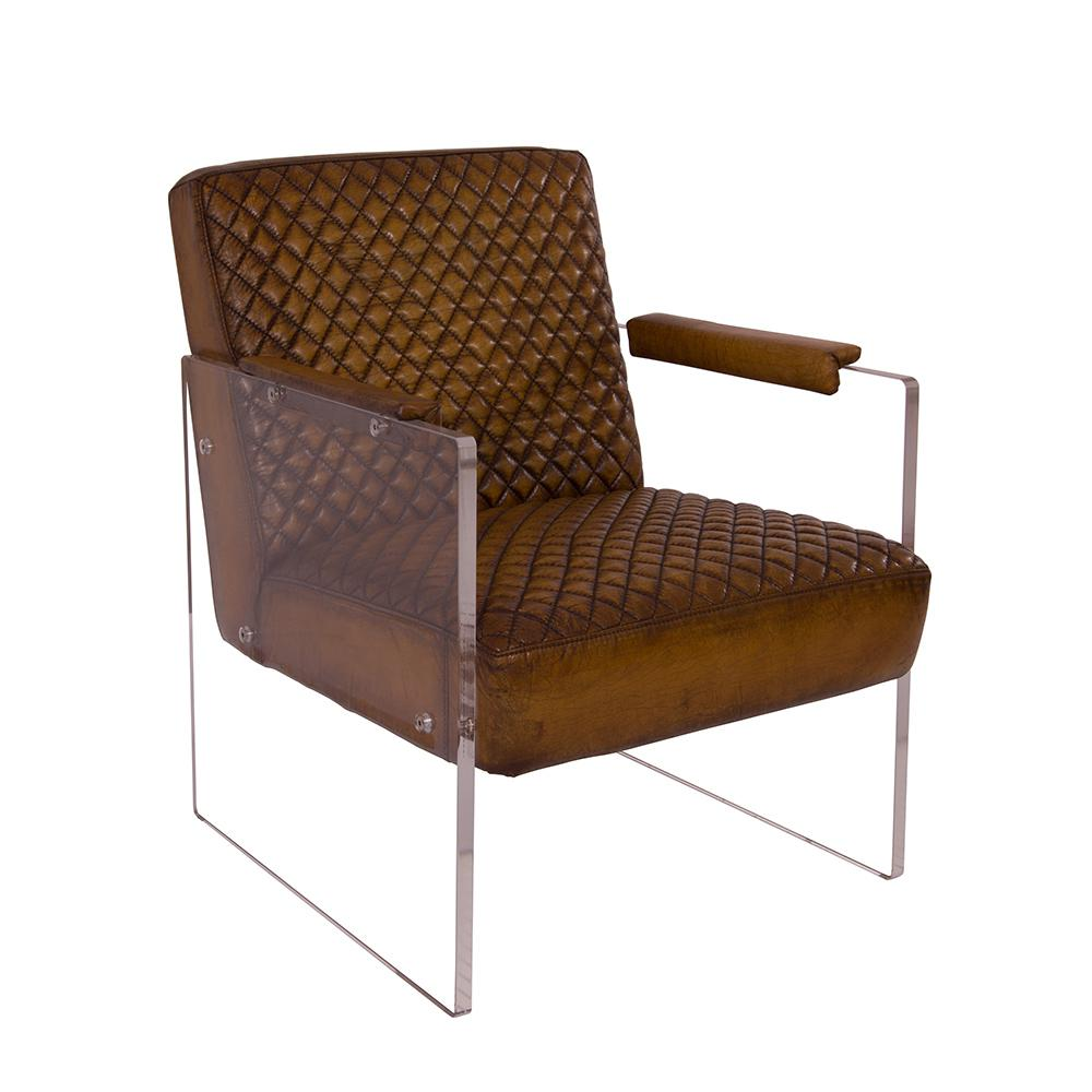 Cocktail-sessel Cocktailsessel Armani Winsconsin Brown Acrylglas Seitenteile Clubsessel Designsessel Armchair
