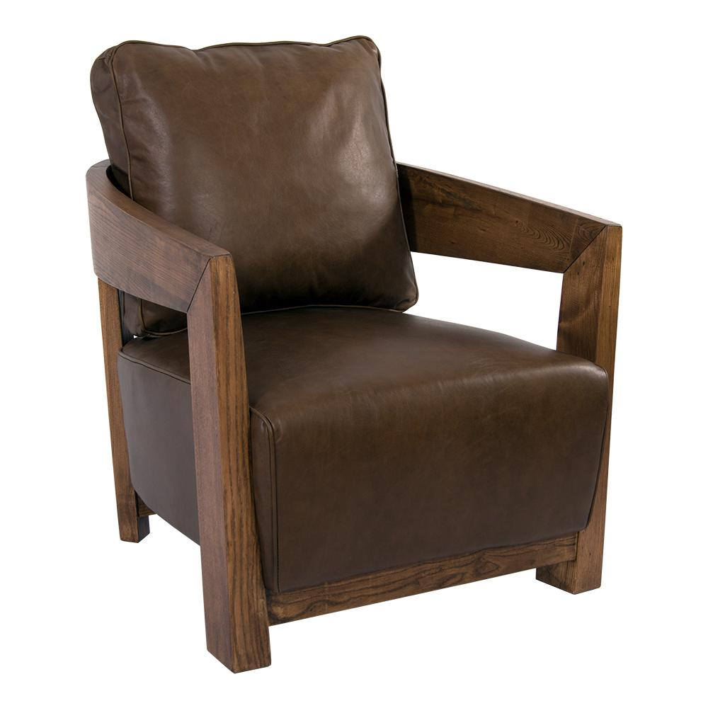 Clubsessel Cedric Holz Und Leder Chocolate Brown Sessel