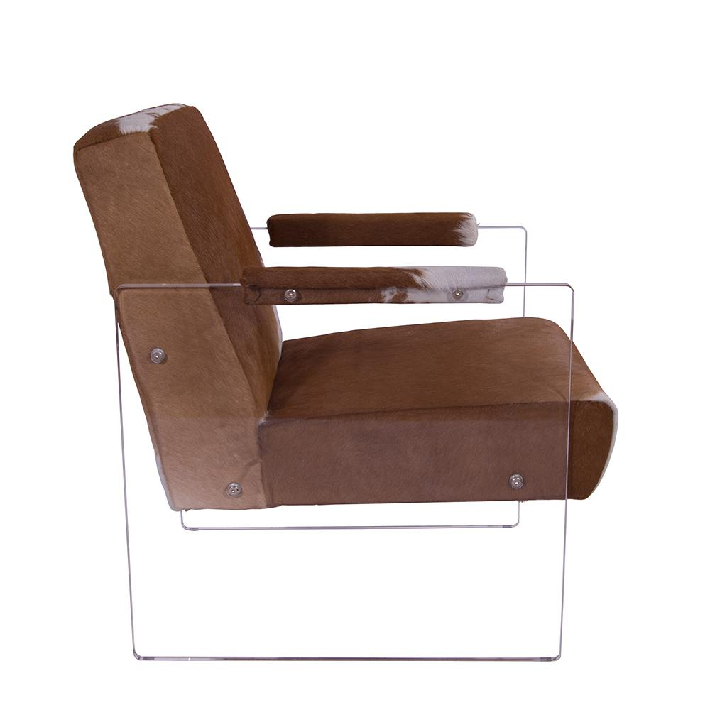 Cocktailsessel Alt Cocktailsessel Armani Kuhfell Weiß Braun Acrylglas Seitenteile Clubsessel Designsessel Armchair