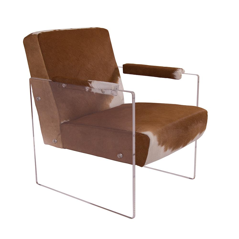 Kuhfell Weiß Cocktailsessel Armani Kuhfell Weiß Braun Acrylglas Seitenteile Clubsessel Designsessel Armchair