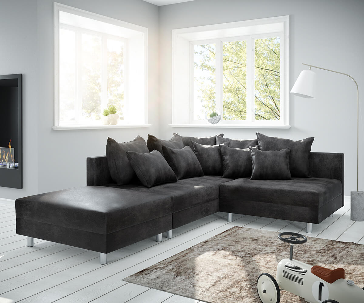 Ecksofa Links Eckcouch Clovis Anthrazit Antik Optik Mit Hocker Ottomane Links Ecksofa Modular