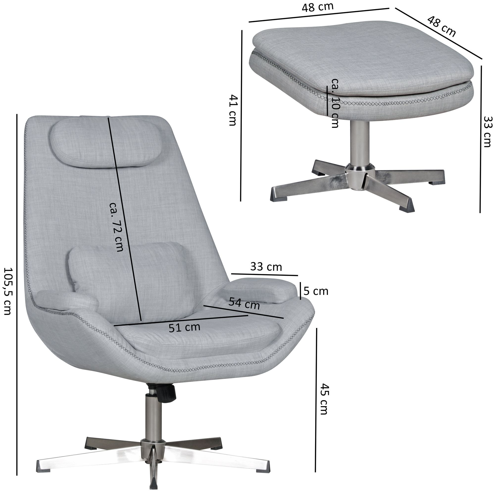 Lesesessel Design Wohnling Relaxsessel Sonja Stoff Grau 74x105 5x81cm Design Fernsehsessel Bequemer Sessel Mit Hocker Lesesessel Drehsessel Mit Fußablage
