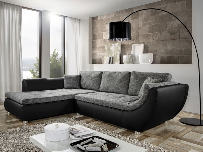 Graues Sofa Welche Wandfarbe Couch Avery, 287x196cm, Webstoff Anthrazit, Kunstleder