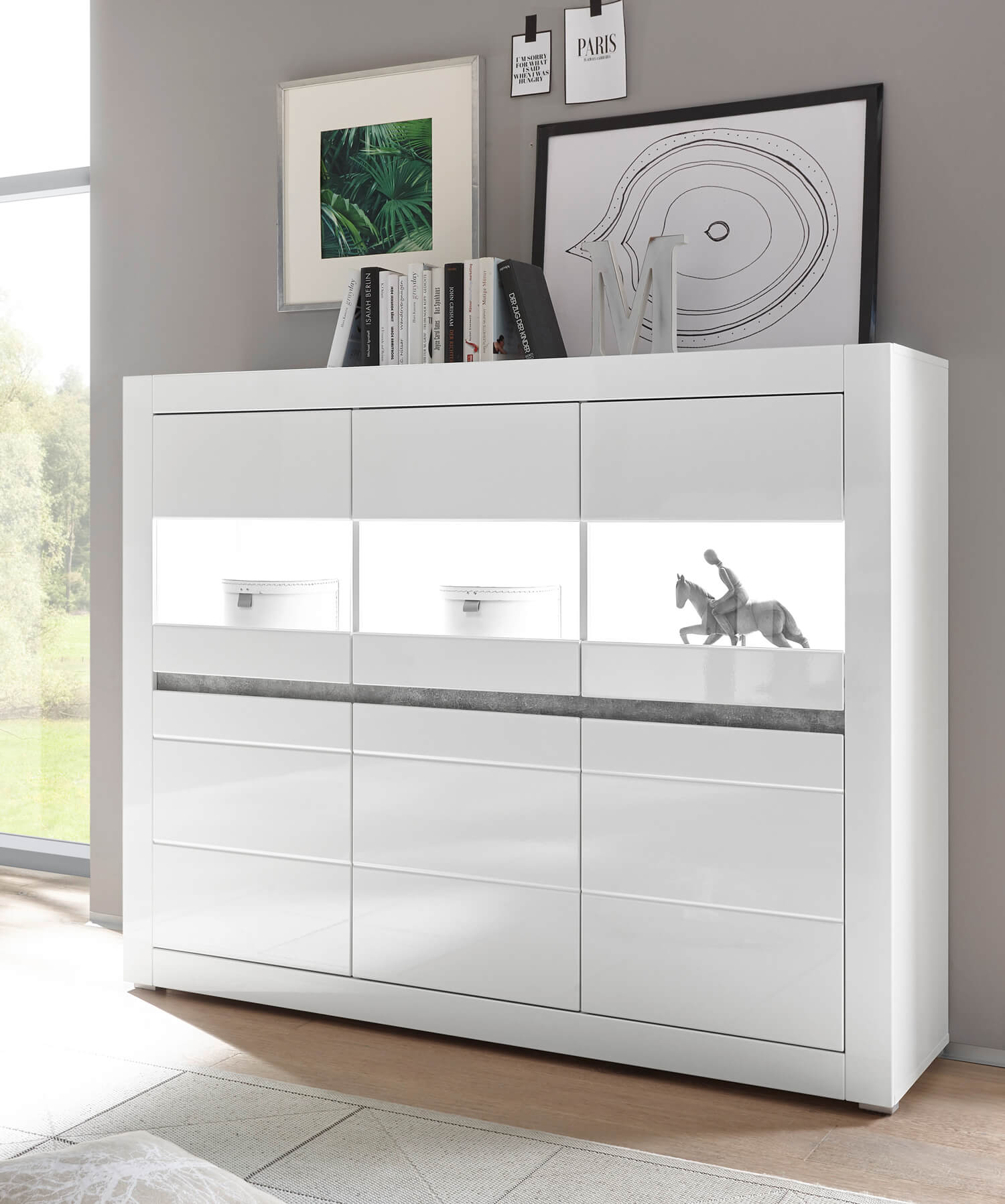Highboard Kommode Highboard Kommode Anrichte Carat 164cm Weiß Weiß Hochglanz Beton Led Neu
