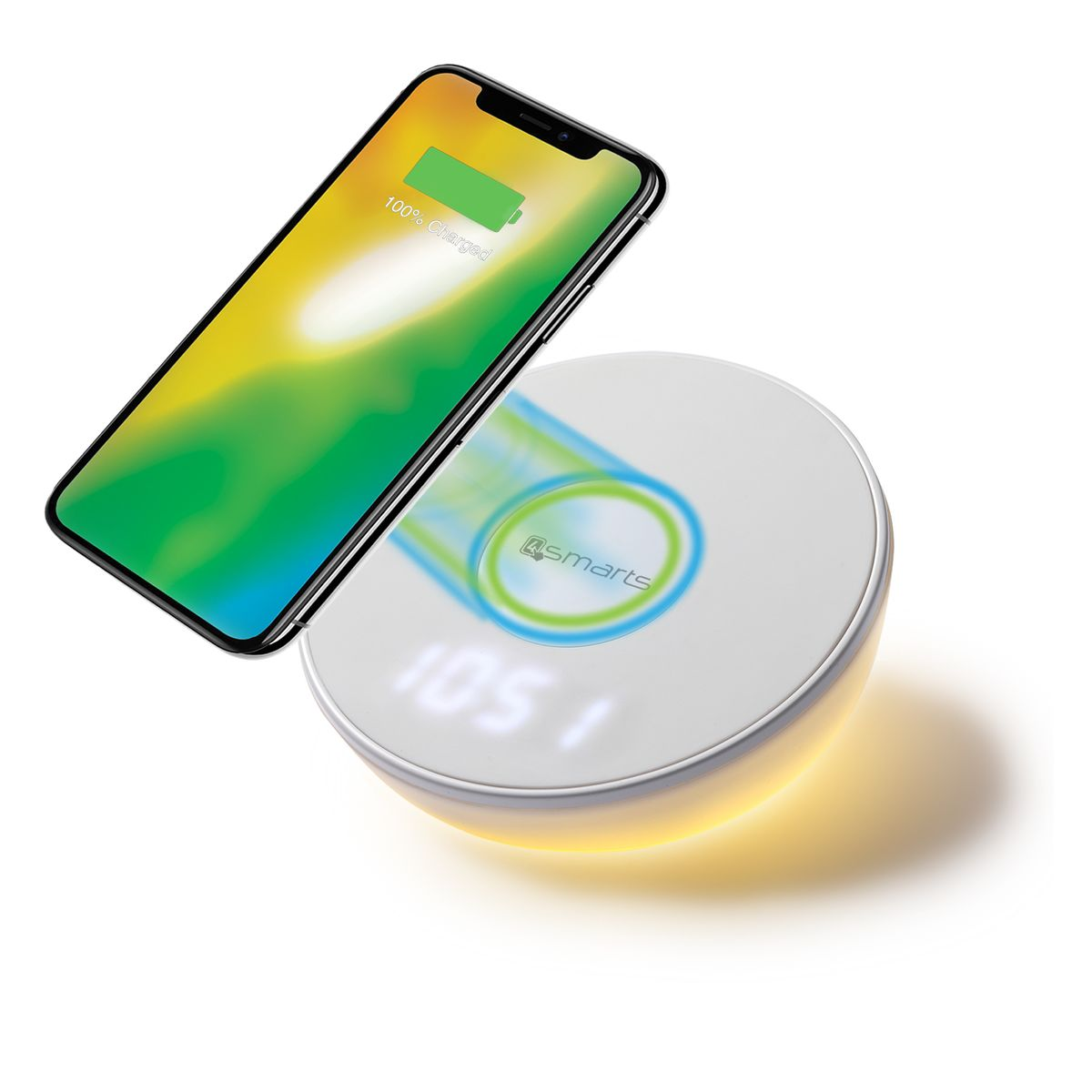 Qi Ladestation Induktive Schnellladestation Ladestation Qi Wireless Charger Uhr Motion Light