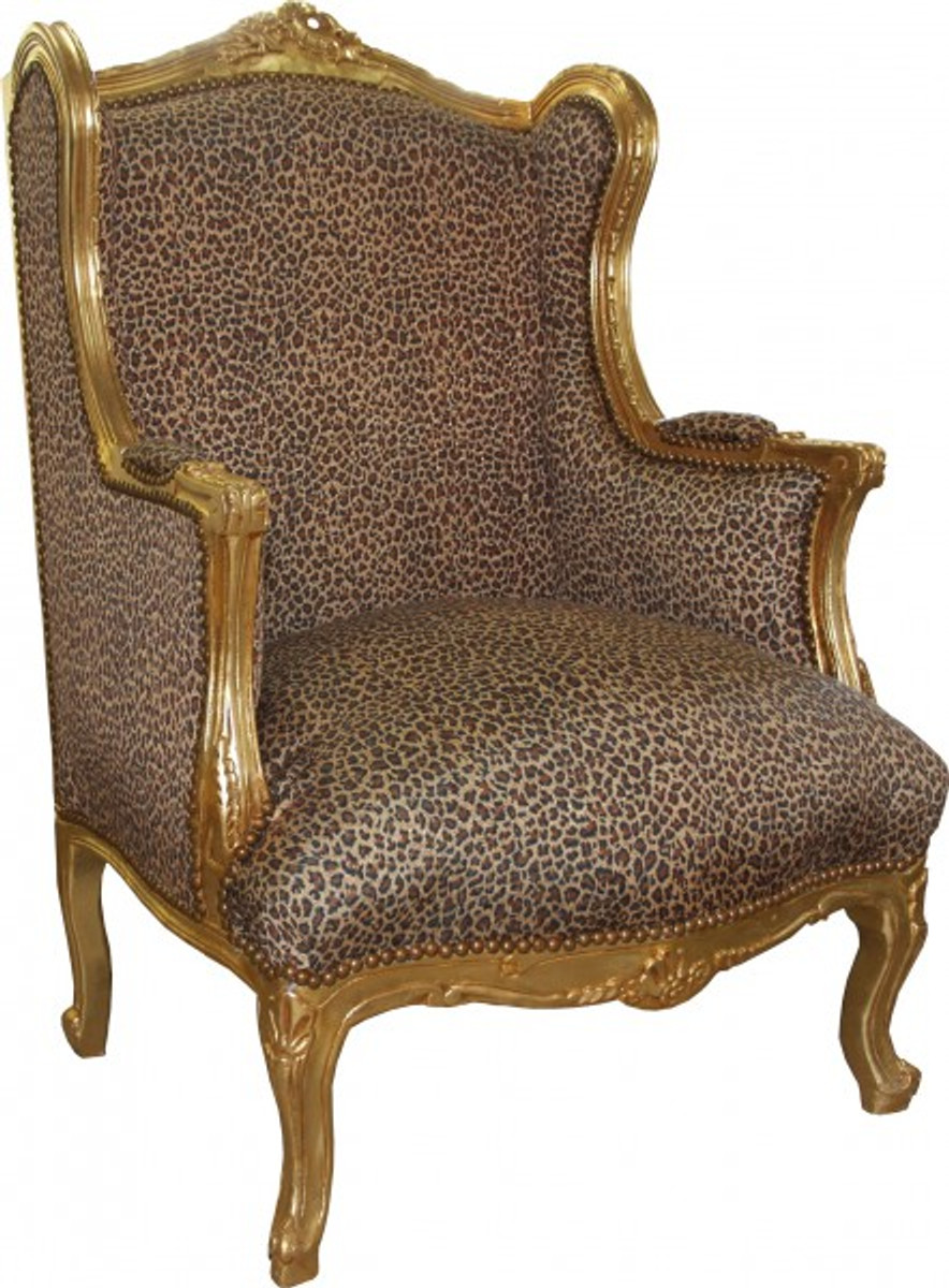 Casa Padrino Barock Lounge Thron Sessel Leopard Gold