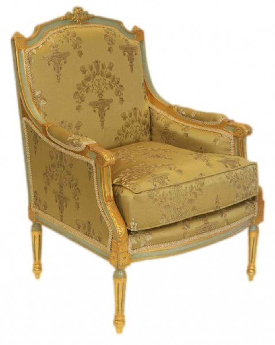 Casa Padrino Barock Lounge Thron Sessel Empire Gold Muster ...