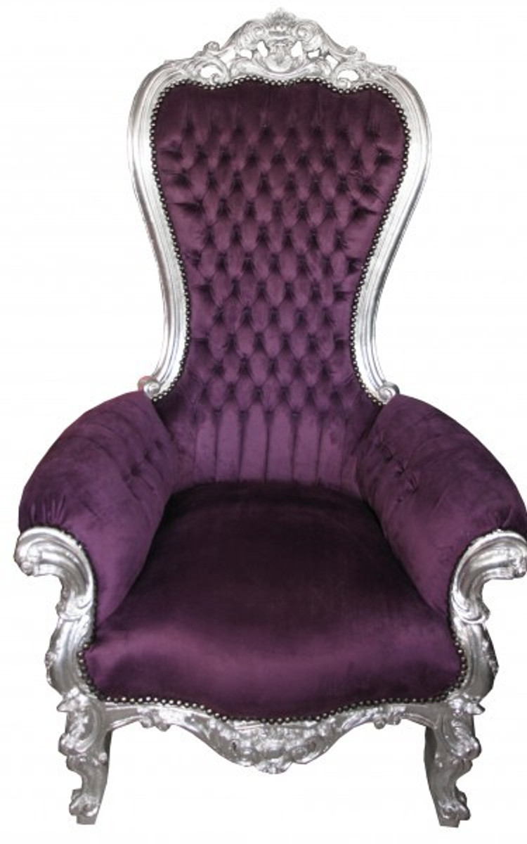 Casa Padrino Barock Thron Sessel Majestic Medium Lila