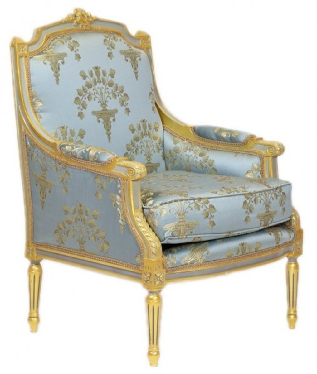 Casa Padrino Barock Lounge Thron Sessel Empire Blau Grau