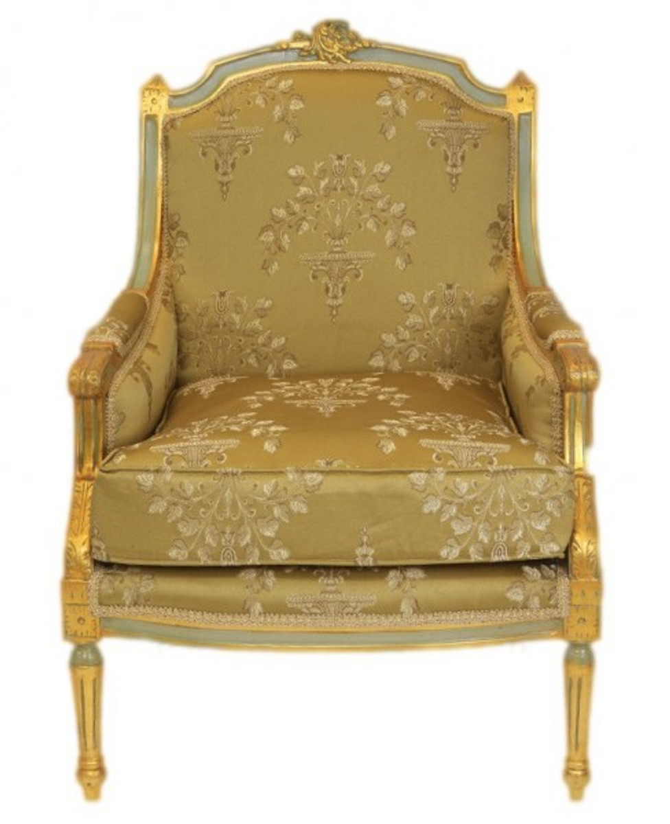 Casa Padrino Barock Lounge Thron Sessel Empire Gold Muster