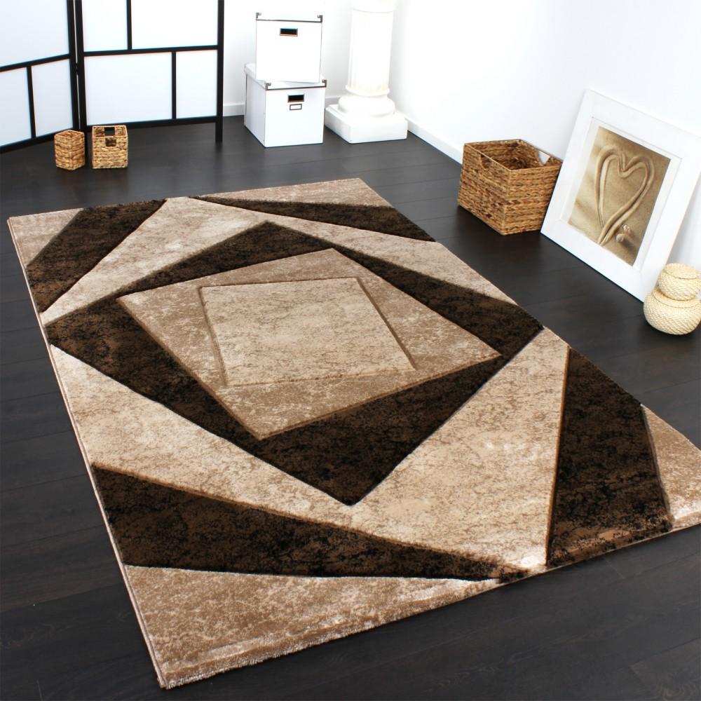 Teppich Beige Designer Teppich Mit Konturenschnitt Karo Muster In