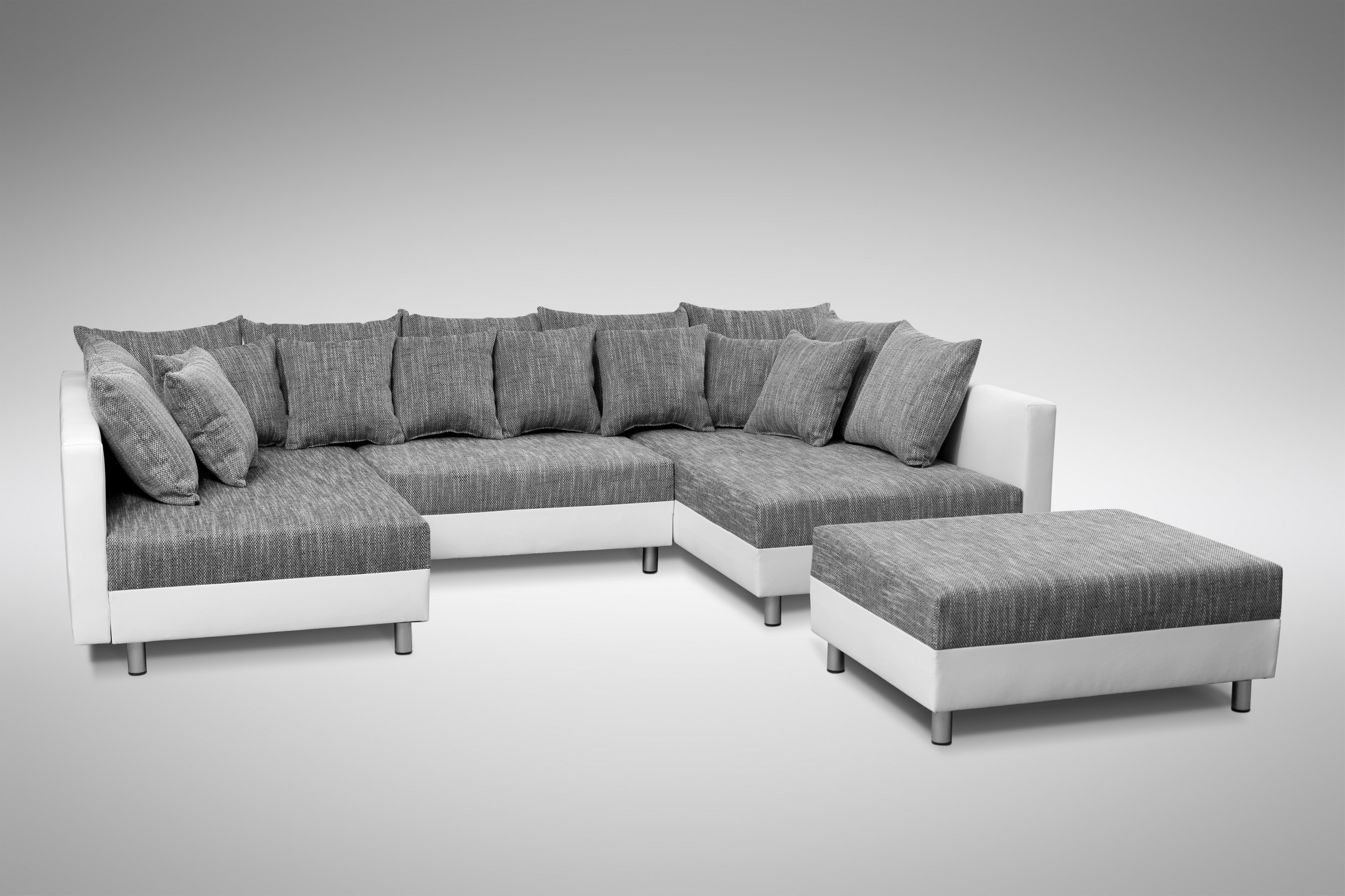 Couch Hocker Sofa Couch Ecksofa Eckcouch In Weiss Hellgrau Eckcouch