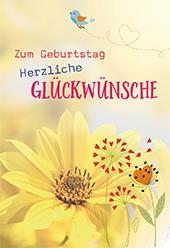 Glückwunschkarte Zum Geburtstag herzliche Glückwünsche (6 St) Blumen