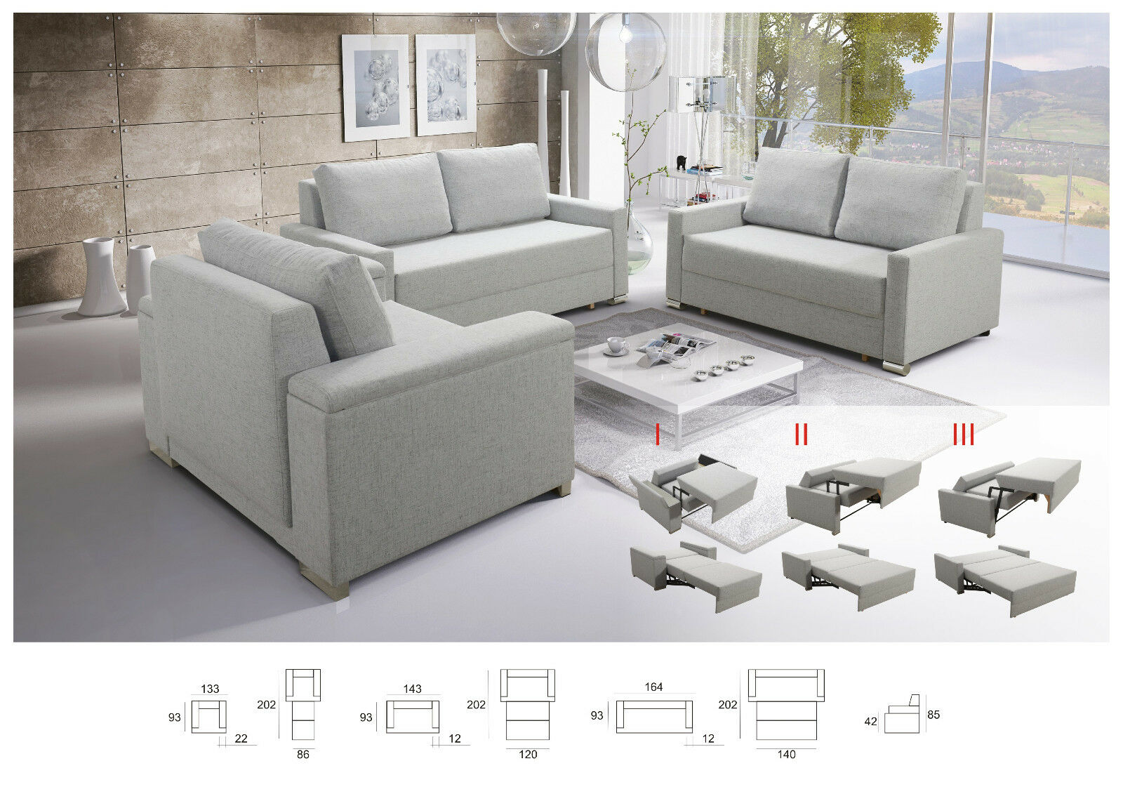 Sofagarnitur 3 2 1 Sofa Set 3 2 1 Buffalo Mit Schlaffunktion Couchgarnitur Couch Sofagarnitur Wohnl