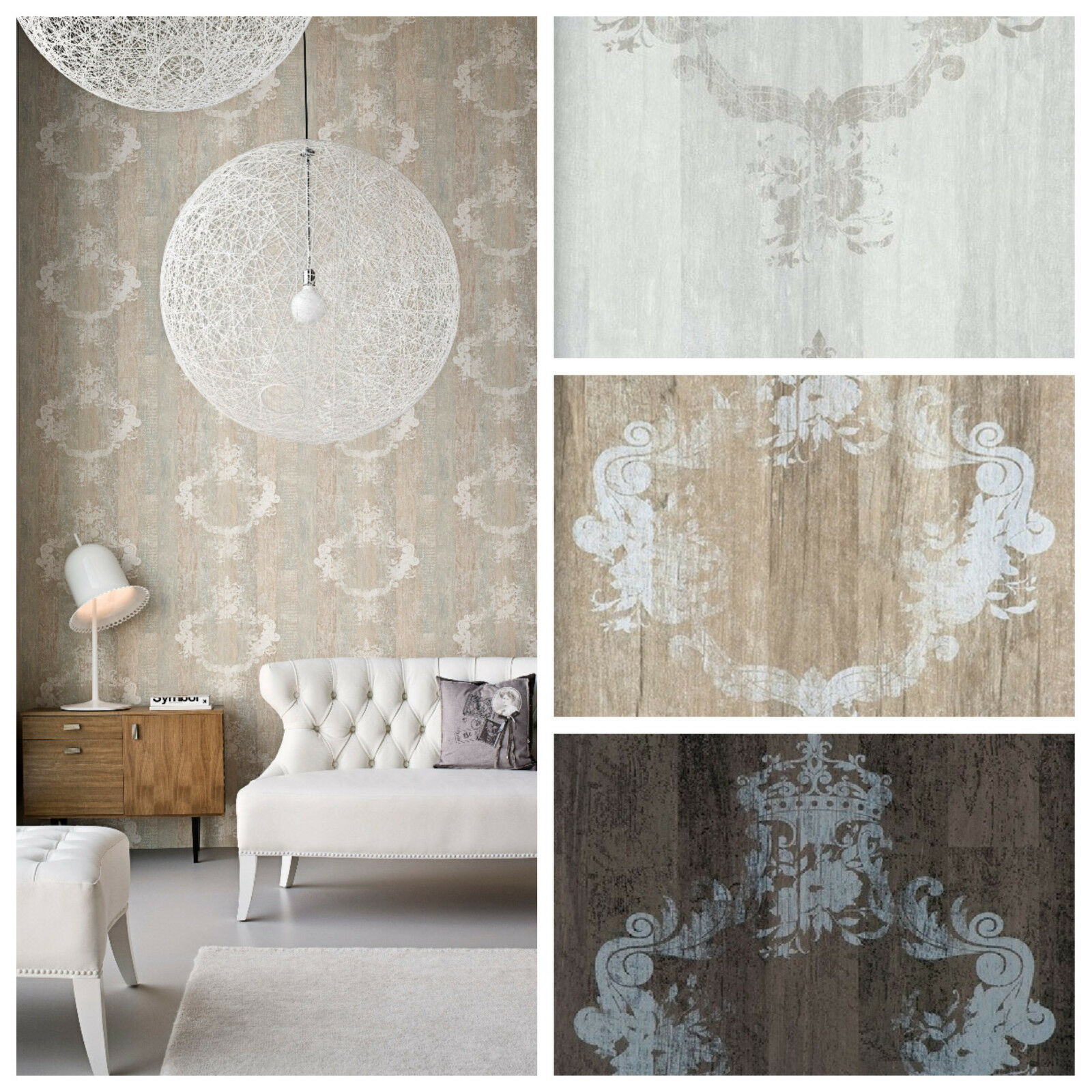 Grau Holz Vlies Tapete Antik Holz Muster Ornament Barock Braun Grau Beige Elements