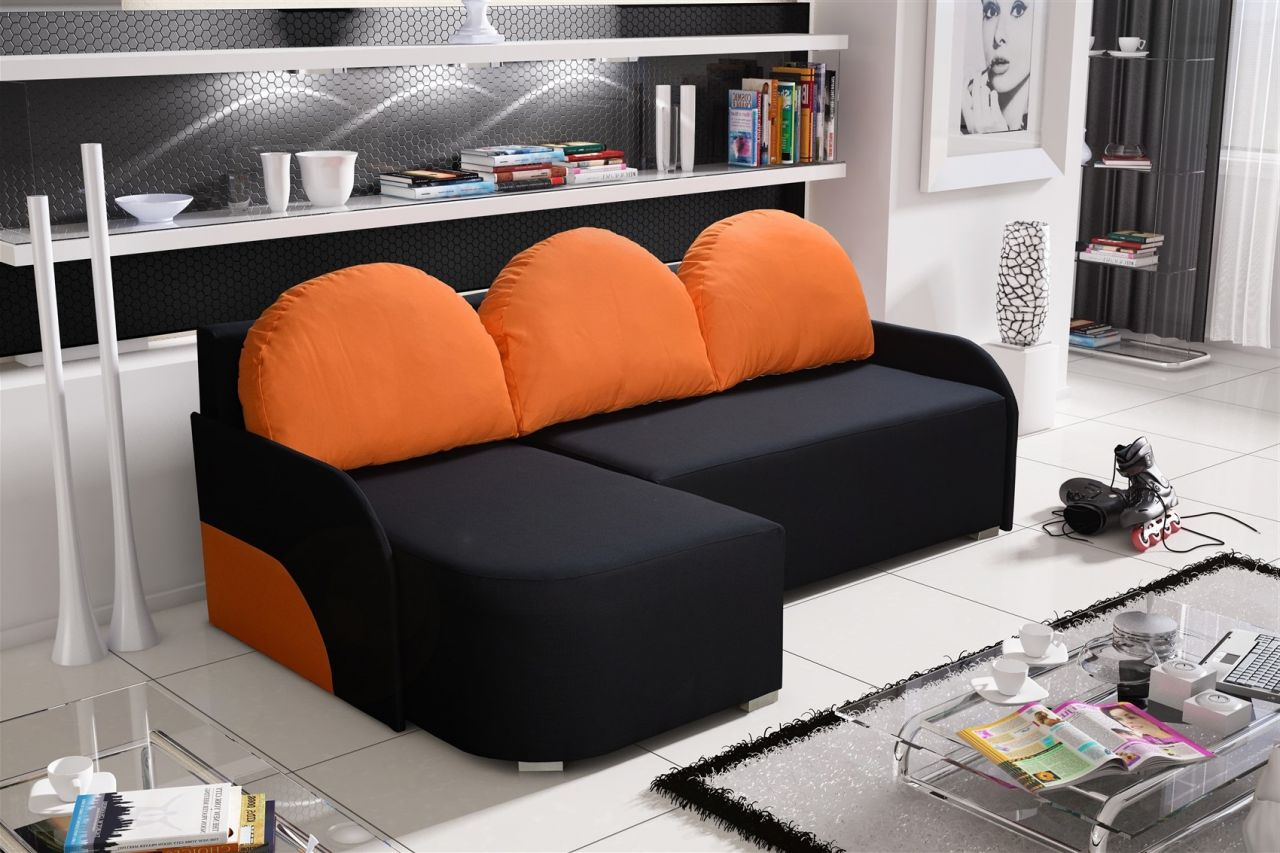 Ecksofa Links Ecksofa Sofa Candy Mit Schlaffunktion Ottomane Links Schwarz Orange