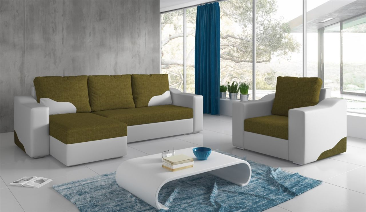 Ecksofa Norwich Ecksofa Set Collin Ottomane Links Sessel Weiss Olivgrün