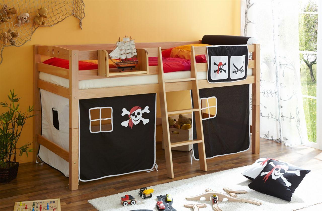 Etagenbett Hochbett Spielbett Kinderbett Jelle 90x200cm Vorhang : Hochbett spielbett kinderbett rutsche kiefer