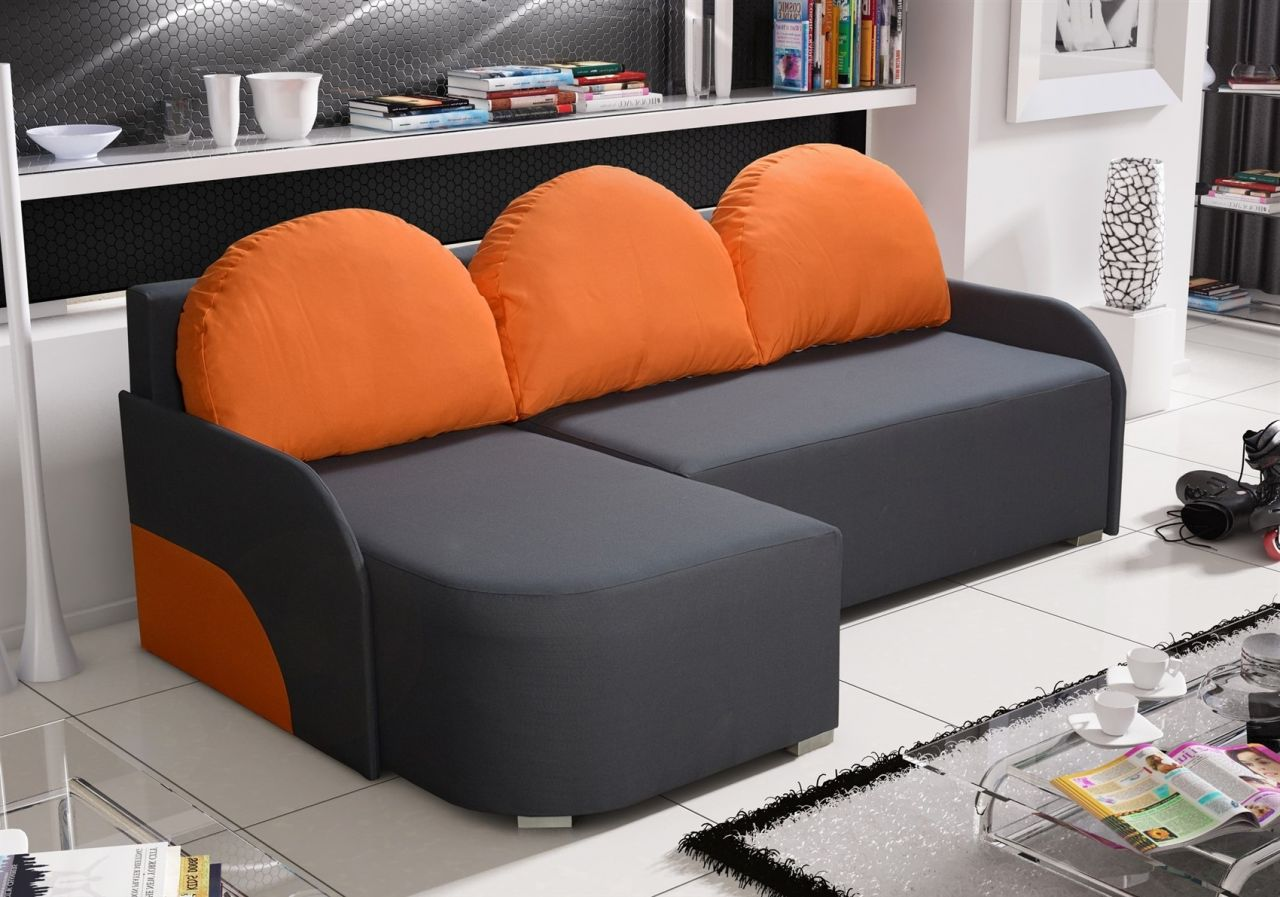 Candy Couchgarnitur Ecksofa Sofa Candy Mit Schlaffunktion Ottomane Links Anthrazit Orange