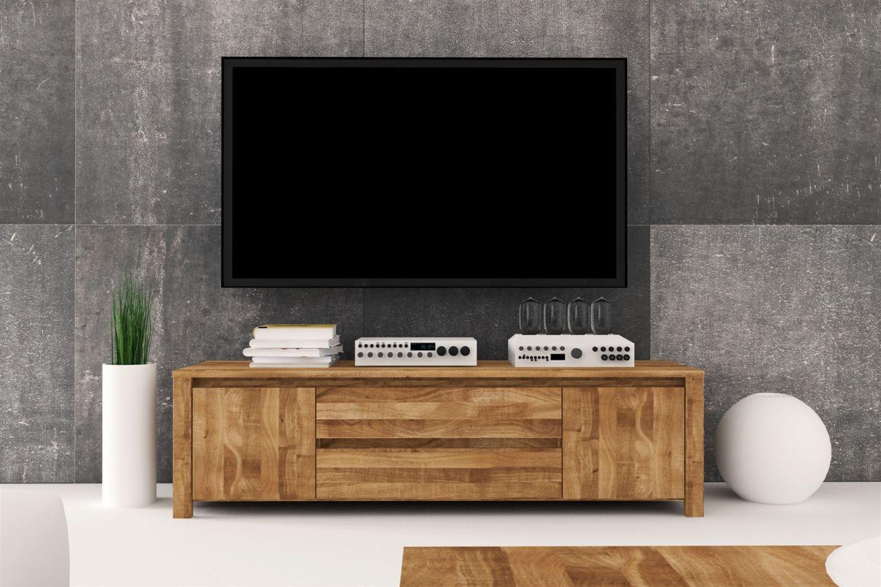 lowboard tv schrank maison eiche massiv 150x43x45 cm