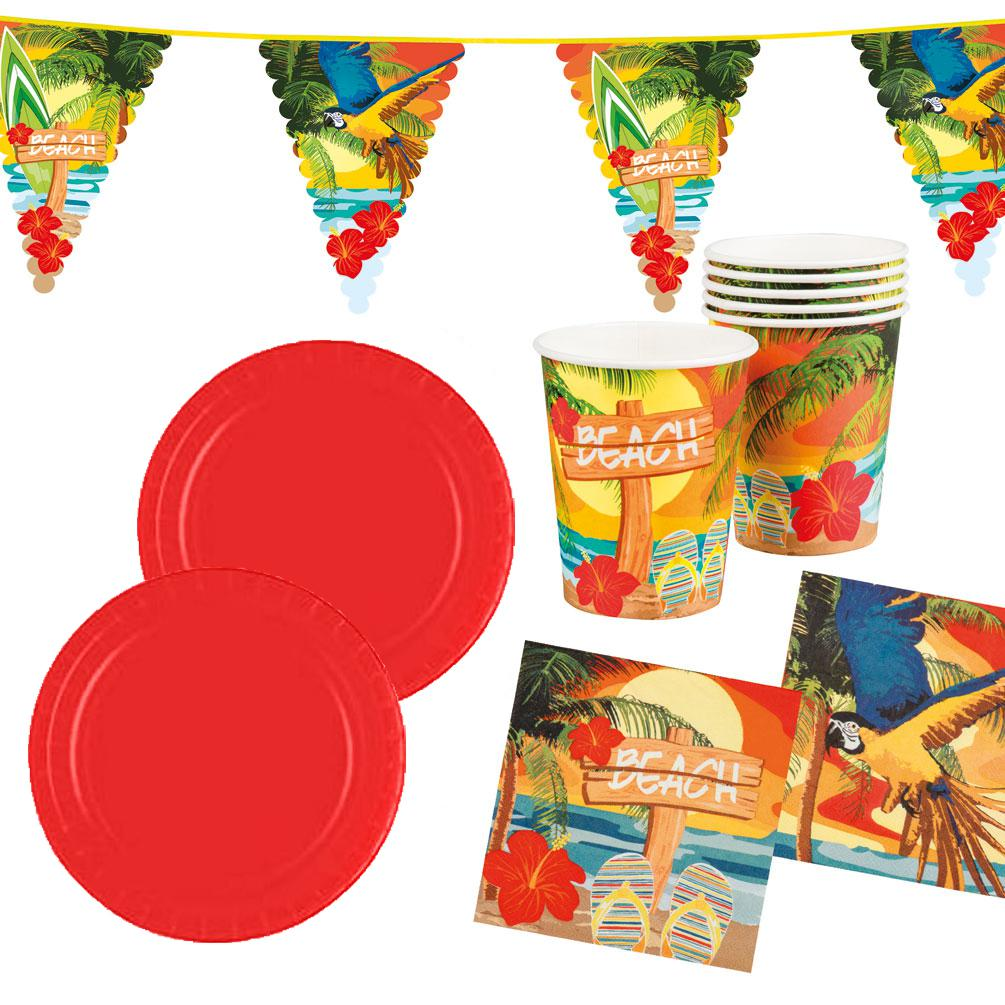Deko Sommerparty Sommer Party Deko Set Hawaii Beach Ara 25 Teile Teller Becher Servietten Wimpel