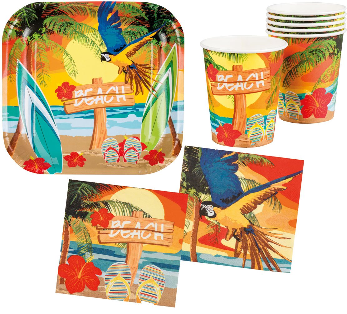 Sommerparty Deko Sommer Party Deko Set Hawaii Beach Ara 24 Teile Teller Becher Servietten