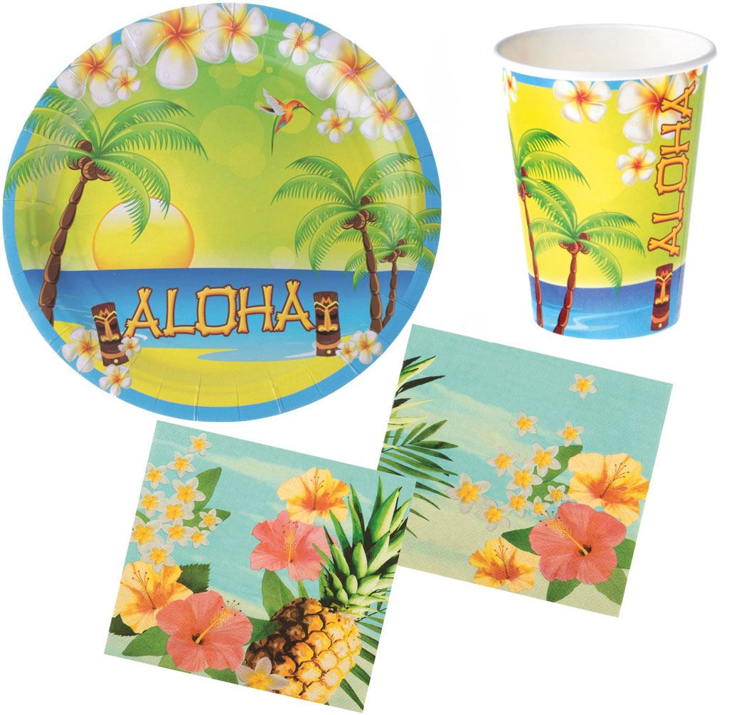 Serviette Portugal Party Set Hawaii Sommer Aloha 28 Teile Teller Becher Servietten Partygeschirr