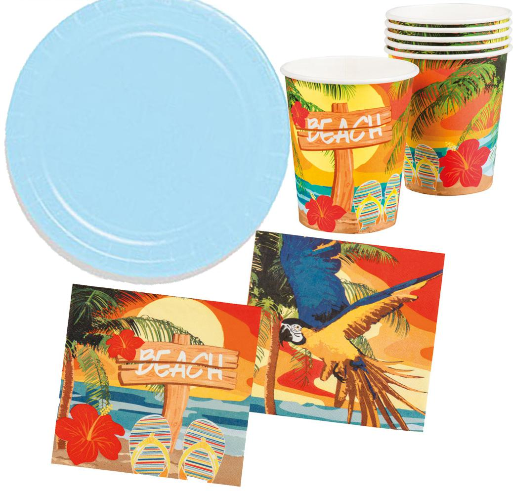 Serviette Portugal Party Set Hawaii Beach Ara Blau 26 Teile Teller Becher Servietten
