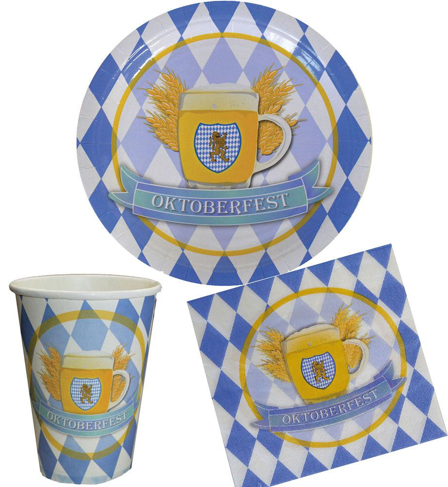 Serviette Portugal Oktoberfest Deko Party Set Bavaria 32 Teile Blau Weiß Teller Becher Servietten