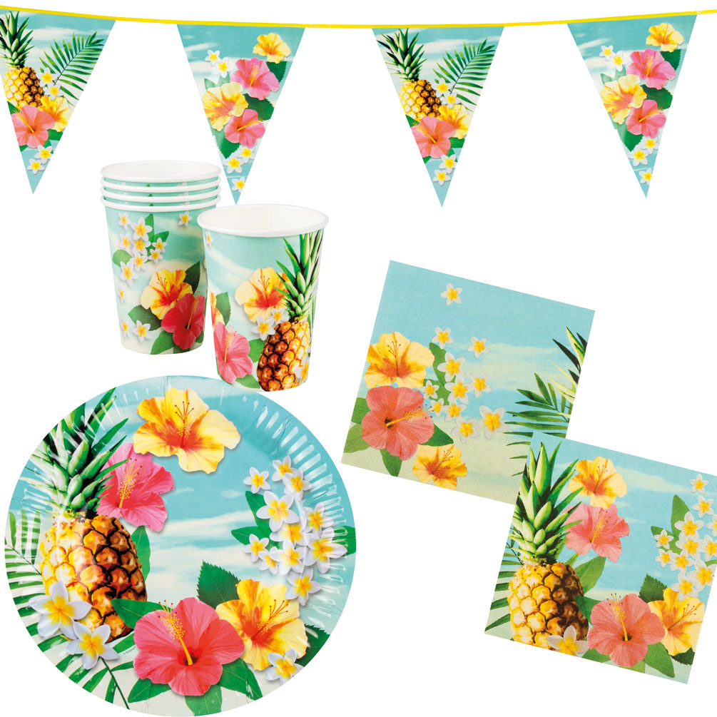 Sommerparty Deko Sommer Party Deko Set Hawaii Blume 25 Teller Becher Servietten Wimpelkette