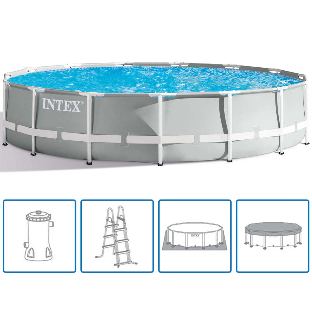 Pool Frame Rund Intex Prism Frame Swimmingpool Set Rund 457 X 107 Cm 26724gn