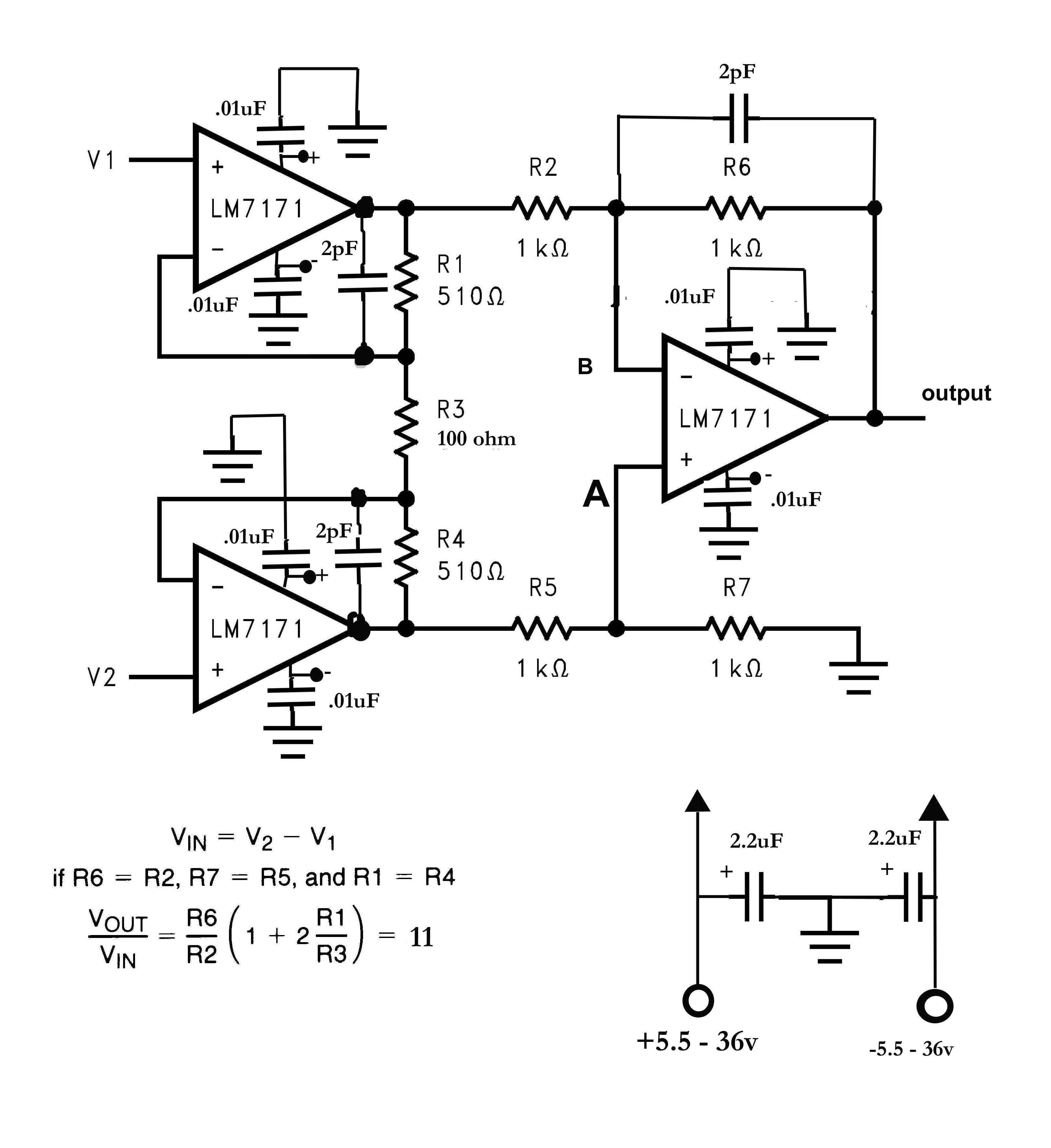typical instrumentation amplifier schematic