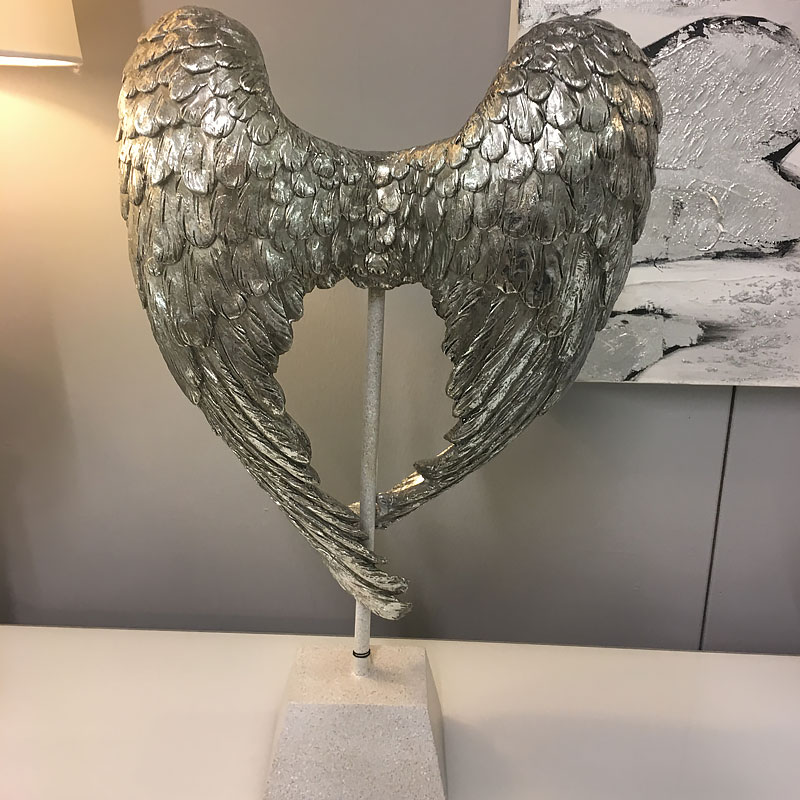 Sofas For Sale Pay Monthly Antique Silver Distressed Angel Wings Sculpture | Picture