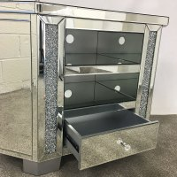 Diamond Crush Tall Mirrored Corner TV Cabinet | Picture ...