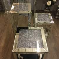 Diamond Crush Mirrored Tall Telephone Table   Picture ...