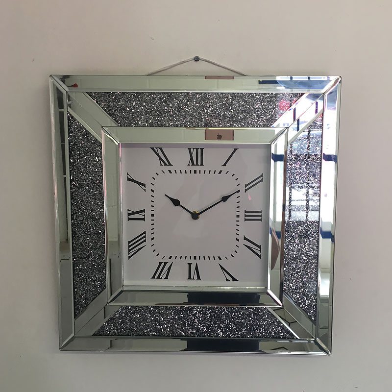 Sofas For Sale Pay Monthly Diamond Crush Mirrored Square Wall Clock | Picture Perfect