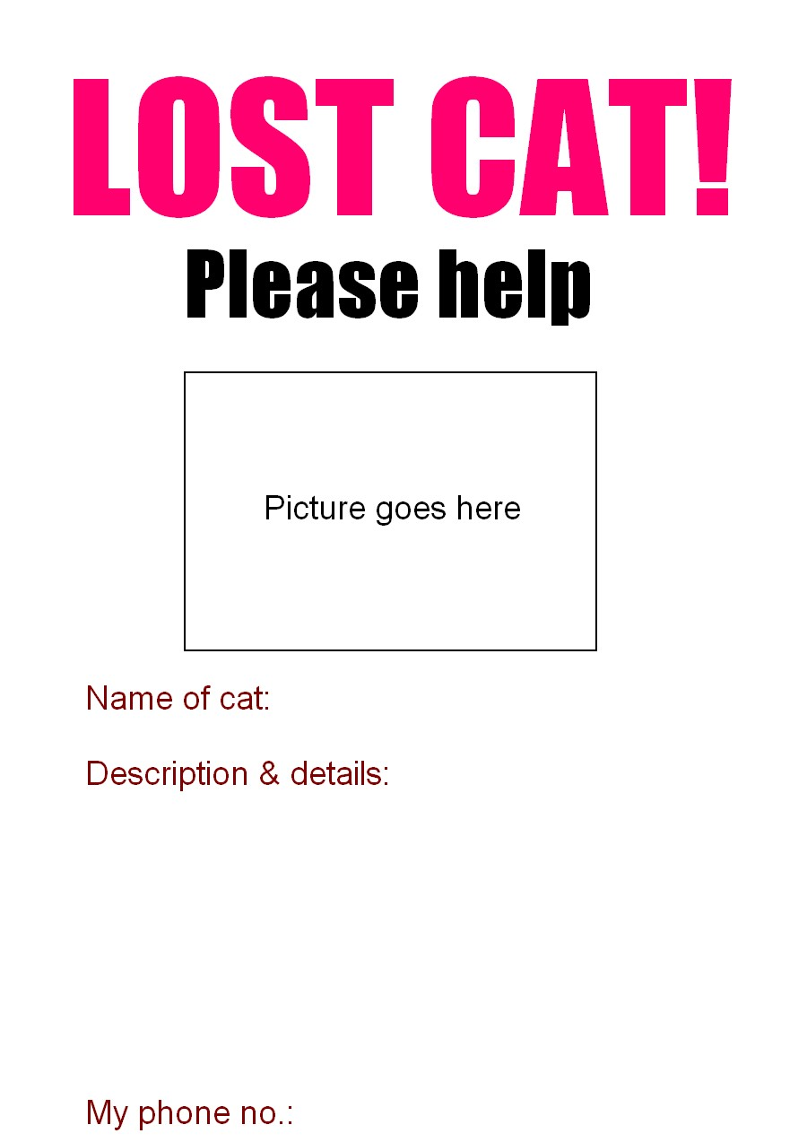 lost pet flyer template free – Lost Pet Template