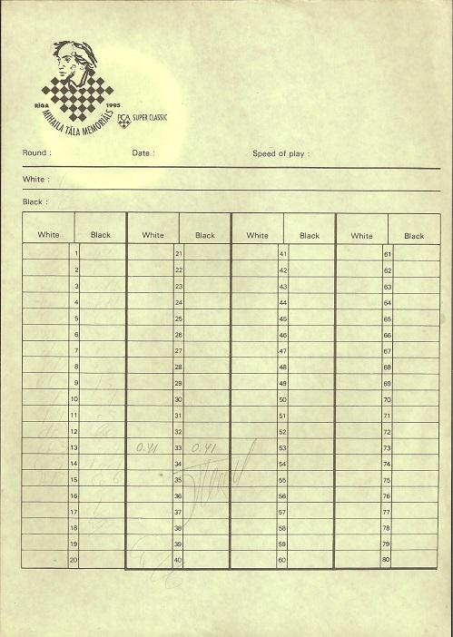 1st International Tal Memorial Chess tournament Riga 1995 Boris