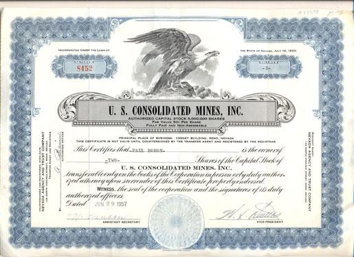 U S Consolidated Mines, Inc Authorized Capital Stock 5,000,000 - Company Share Certificates