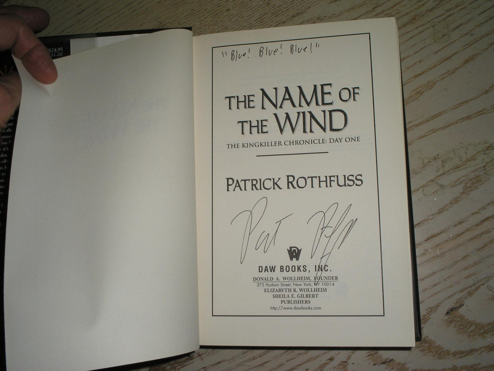 Nuevo Libro De Patrick Rothfuss The Name Of The Wind De Patrick Rothfuss Daw 9780756404079