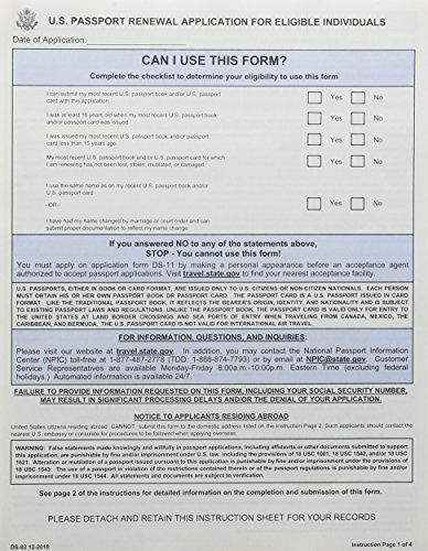 9780160880711 US Passport Renewal Application for Eligible - passport renewal application form